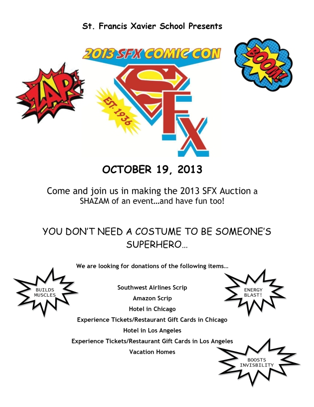 Come join Clear Title Agency of AZ & St. Francis Xavier School's Comic Con Auction on October 19, 2013